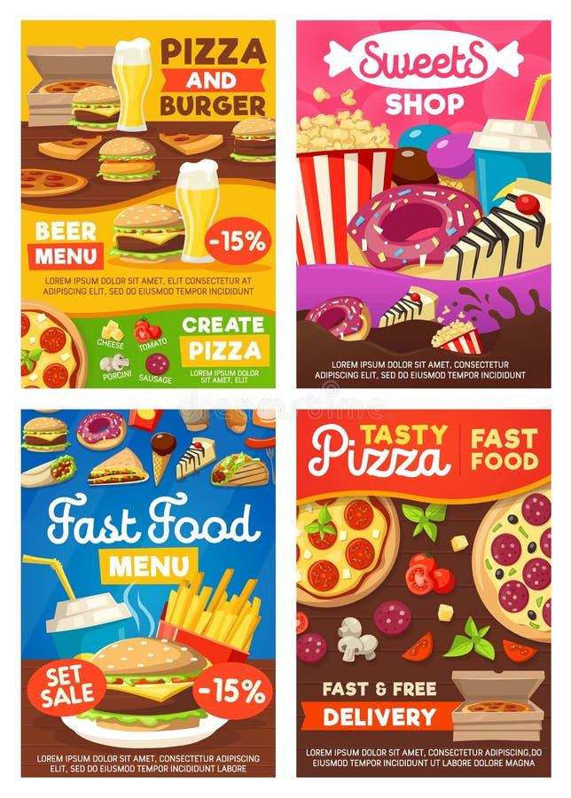 Burgers γρήγορου φαγητού, πρόχειρα φαγητά σάντουιτς και επιδόρπια ελεύθερη απεικόνιση δικαιώματος