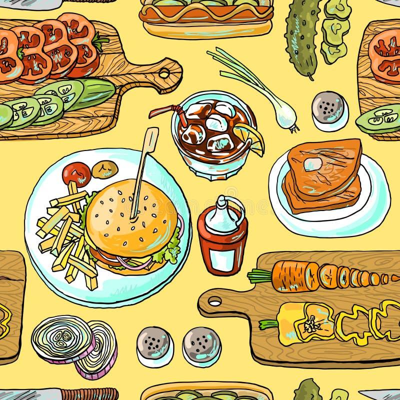 Burgers μαγειρέματος ελεύθερη απεικόνιση δικαιώματος