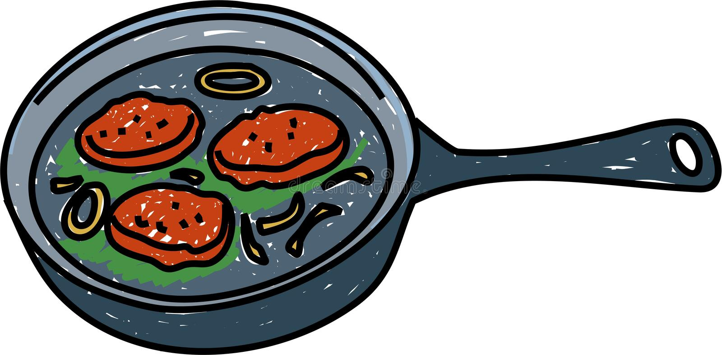 burgers που τηγανίζονται απεικόνιση αποθεμάτων