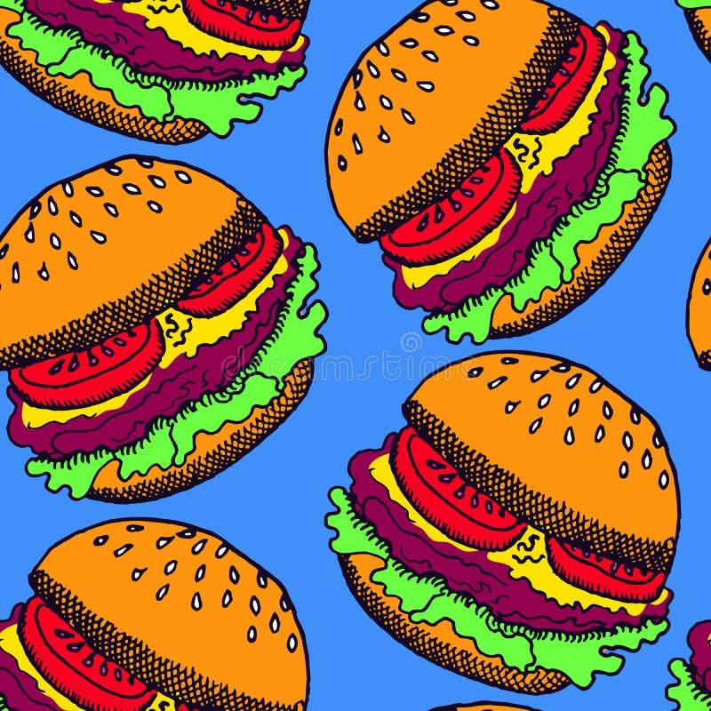 Burgers, χέρι που επισύρεται την προσοχή doodle στο μπλε υπόβαθρο απεικόνιση αποθεμάτων
