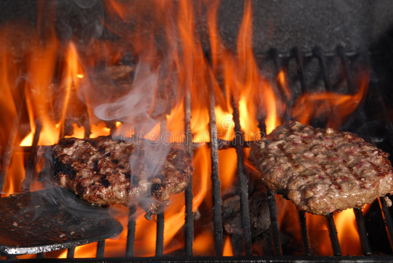 Burgers on the Barbeque stock photography