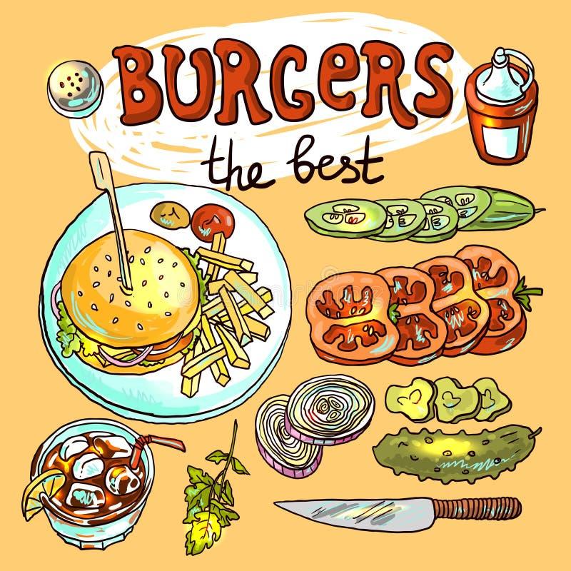 Burgers royalty free illustration