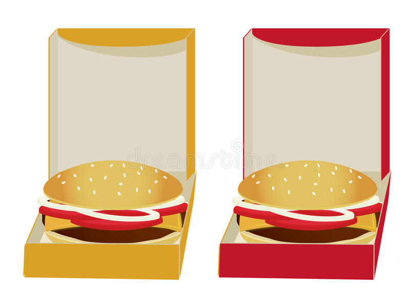 Burgers in boxes stock illustration