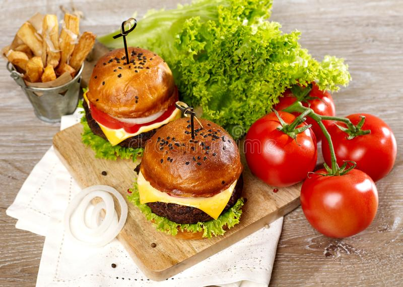 Fresh burgers from above royalty free stock photo