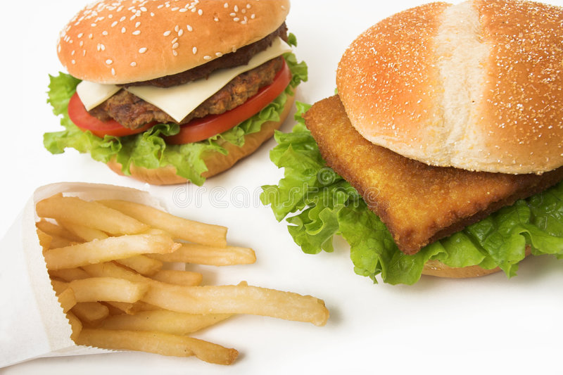 Burgers and fries stock image