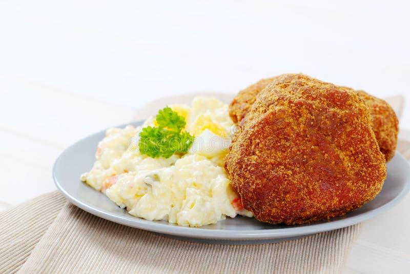Download Burgers With Potato Salad Stock Photo - Image: 83707550