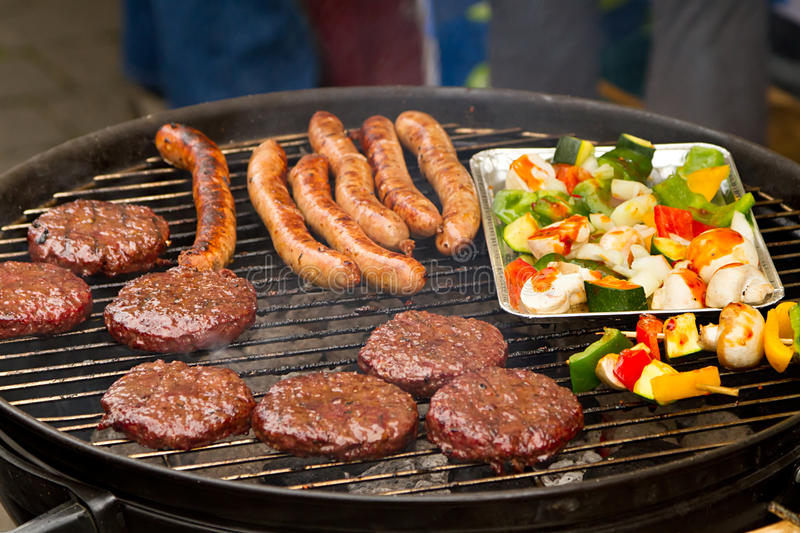 Download Burgers And Sausages On Barbecue Stock Image - Image: 24863833