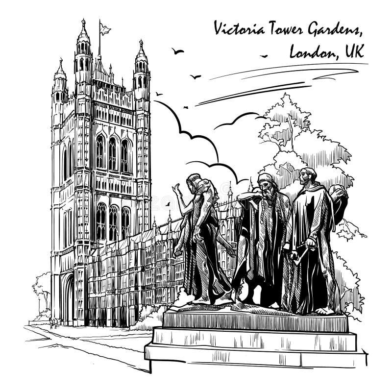 Burgers van Calais-standbeeld met erachter Victoria Tower en de Huizen van het Parlement royalty-vrije illustratie
