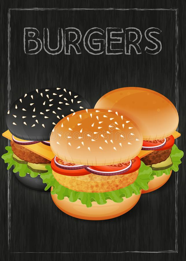 Burgers on wood black background. Burger menu. Flyer. Object for packaging, advertisements, menu. Vector illustration. Realistic vector illustration