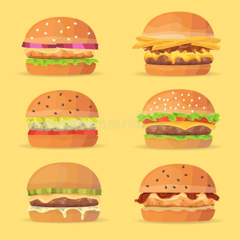 Burgersreeks Ingrediëntenbroodjes, kaas, bacon, tomaat, ui, sla, komkommers Vectoreps 10 royalty-vrije illustratie