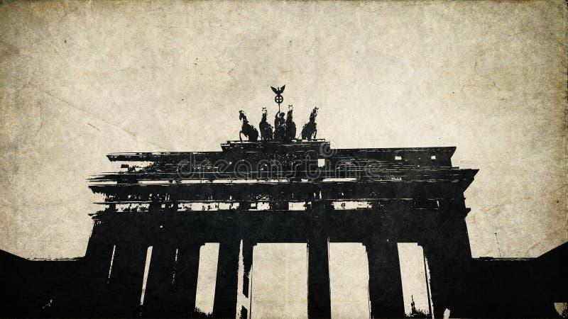Burgertor van Grungebranden in de wijnoogst van Berlijn vector illustratie