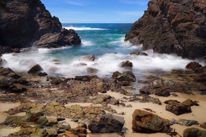 Burgess Beach Forster Australie exposition prolongée photo libre de droits