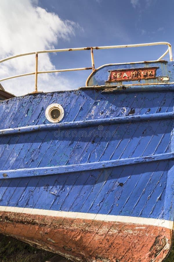 Burghead fiskebåtdetalj i Skottland arkivfoton