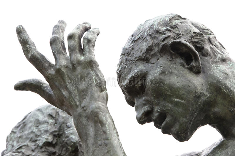Burgher de Rodins de la estatua de Calais - detalles imágenes de archivo libres de regalías