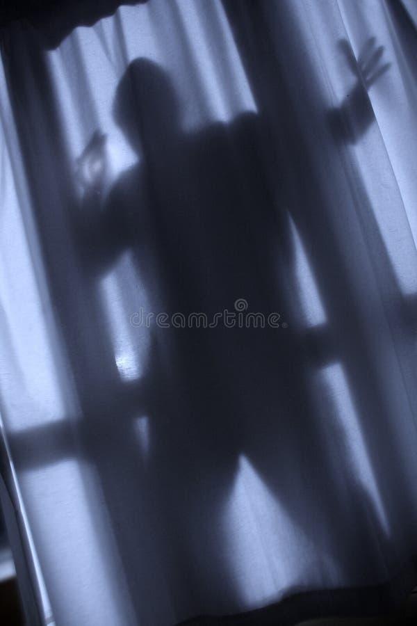 Burglar. Silhouette of burglar against curtain