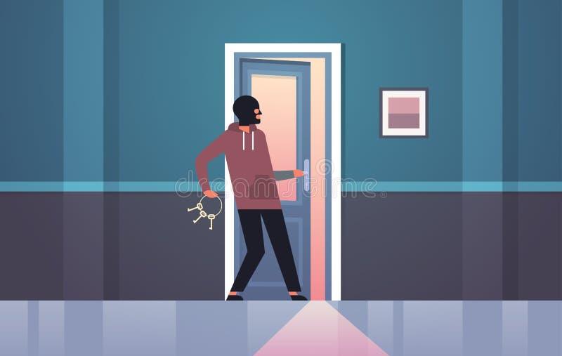 Burglar in black mask using bunch skeleton keys breaking entering into home criminal thief character open door night vector illustration