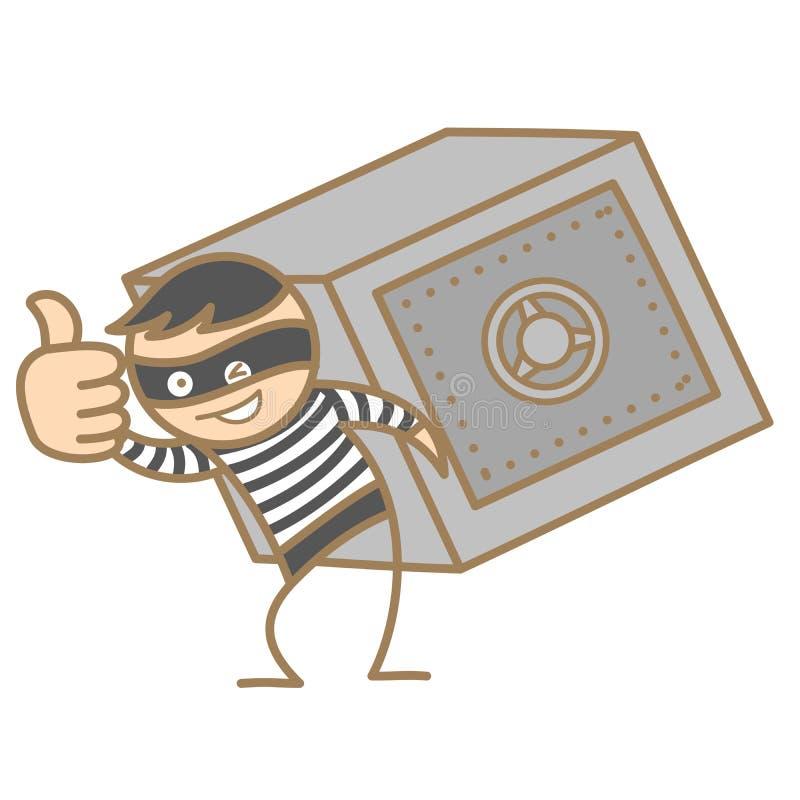 burglar carrying money box vector illustration