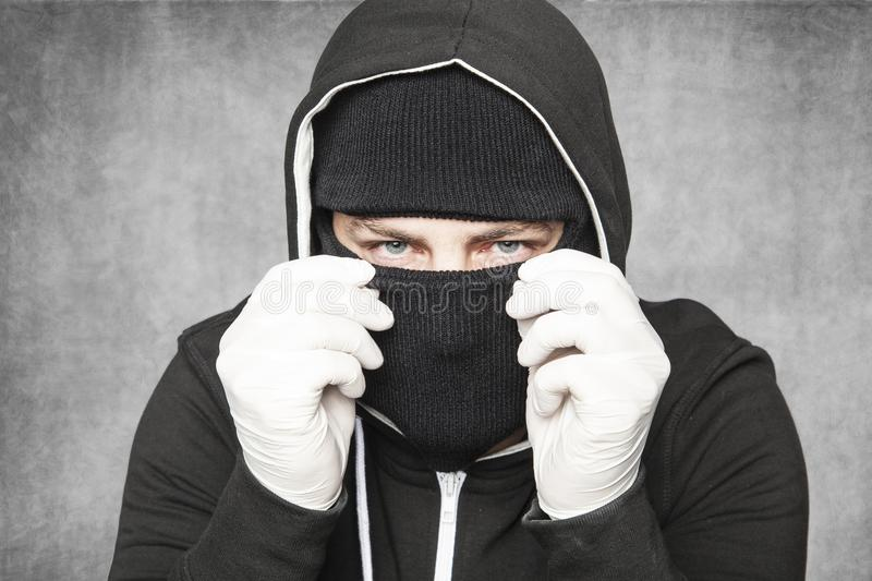 Burglar is a chimney sweeper stock images