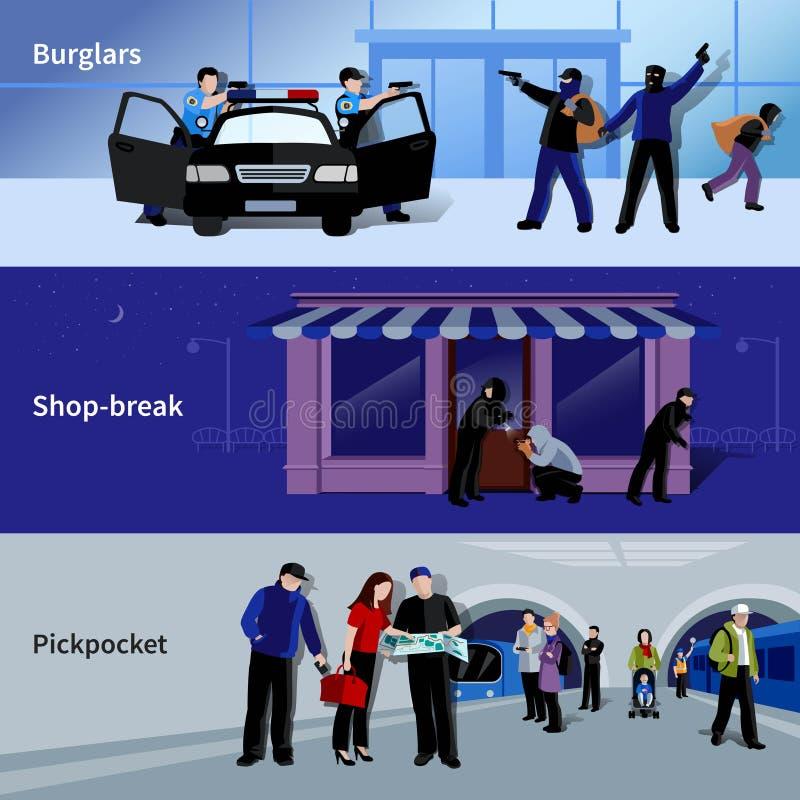 Burglar Icons Banners royalty free illustration