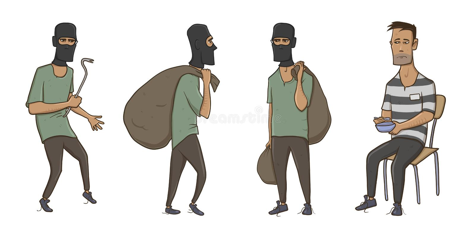 A burglar, robber, thief, man in balaclava mask with huge sack and crowbar. A criminal in prison in striped clothes royalty free illustration