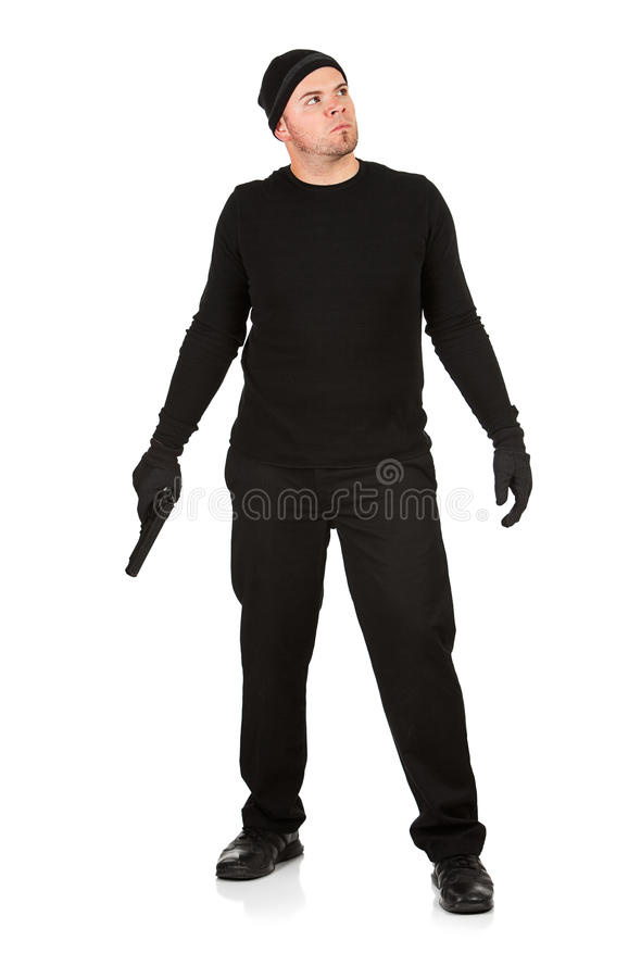 Burglar: Standing with a Gun royalty free stock photography