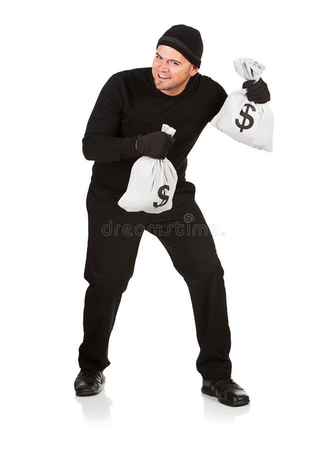 Free Burglar: Stealing Money Bags Royalty Free Stock Images - 44923009