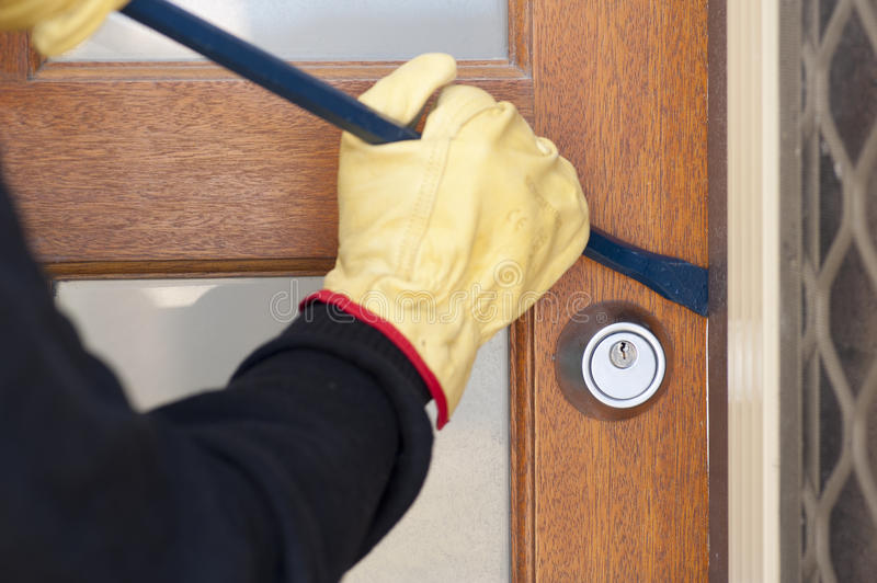 Download Thief Breaking In House With Crowbar Stock Image - Image of apartment, gloves: 29702121