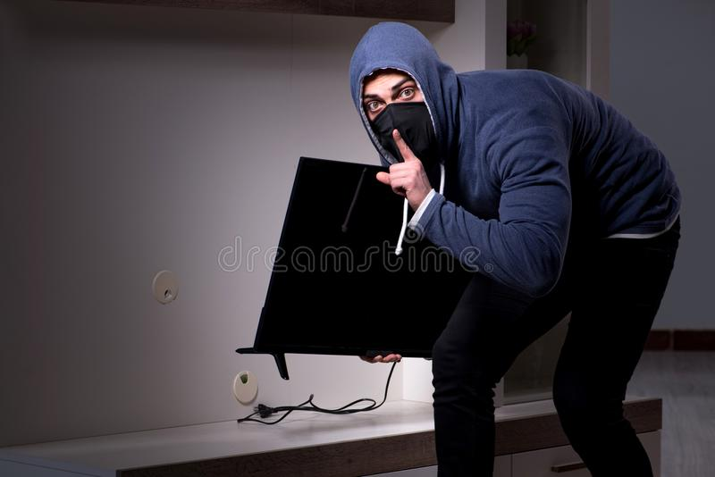 The burglar thief stealing tv from apartment house royalty free stock images