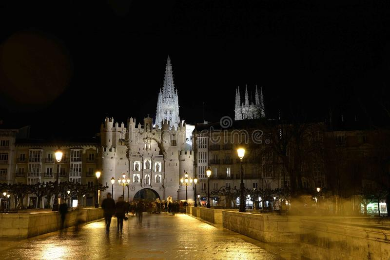 Burgos di notte fotografie stock libere da diritti