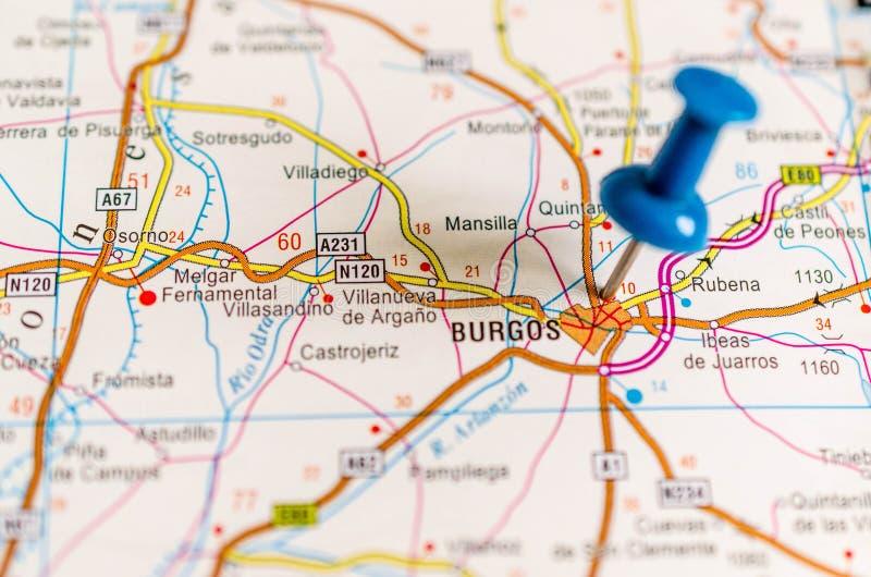 Burgos en mapa imagen de archivo libre de regalías