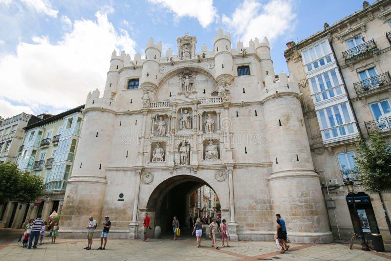 Burgos miasta Historyczna brama zdjęcia royalty free