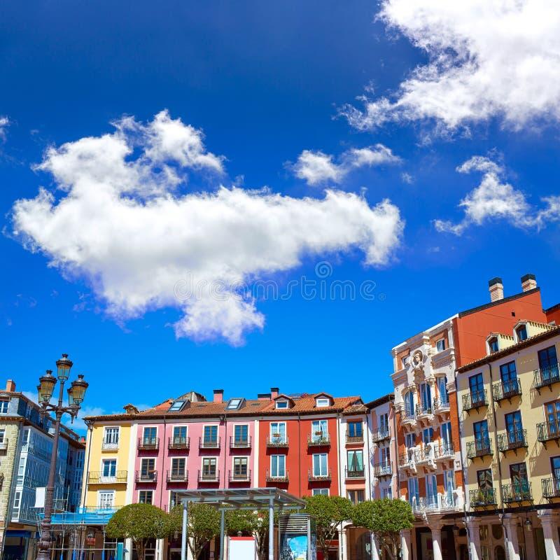 Burgos-Piazza-Bürgermeisterquadrat in Kastilien Leon Spain lizenzfreies stockbild