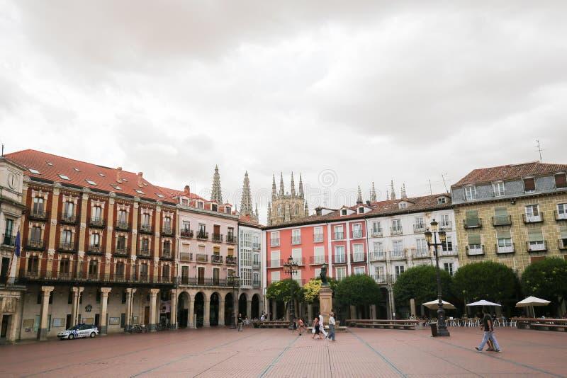 Burgos Plaza Mayor and Cathedral stock photography