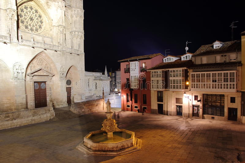 Burgos plaza Santa Maria arkivbild