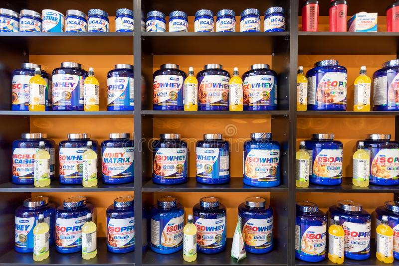 Burgos, Spain - May 4, 2019: Workout supplement, sport nutrition, bodybuilding supplements, sport diet power, whey, and stock photography