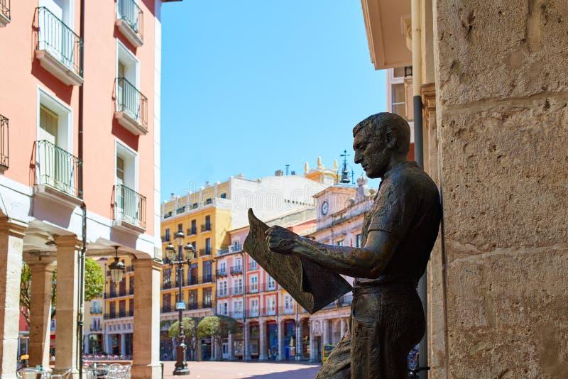 Burgos statua Hiszpania lub gazetowy czytelnik zdjęcie stock