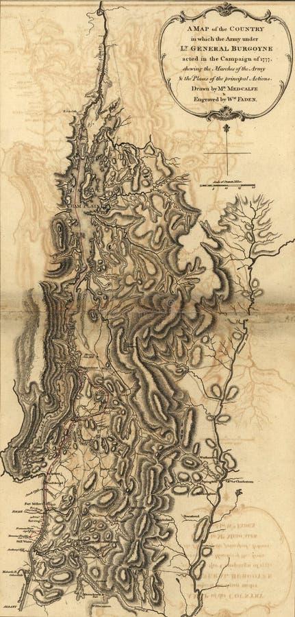 Burgoyne的军队地图,在萨拉托加前, 1777 免版税库存照片