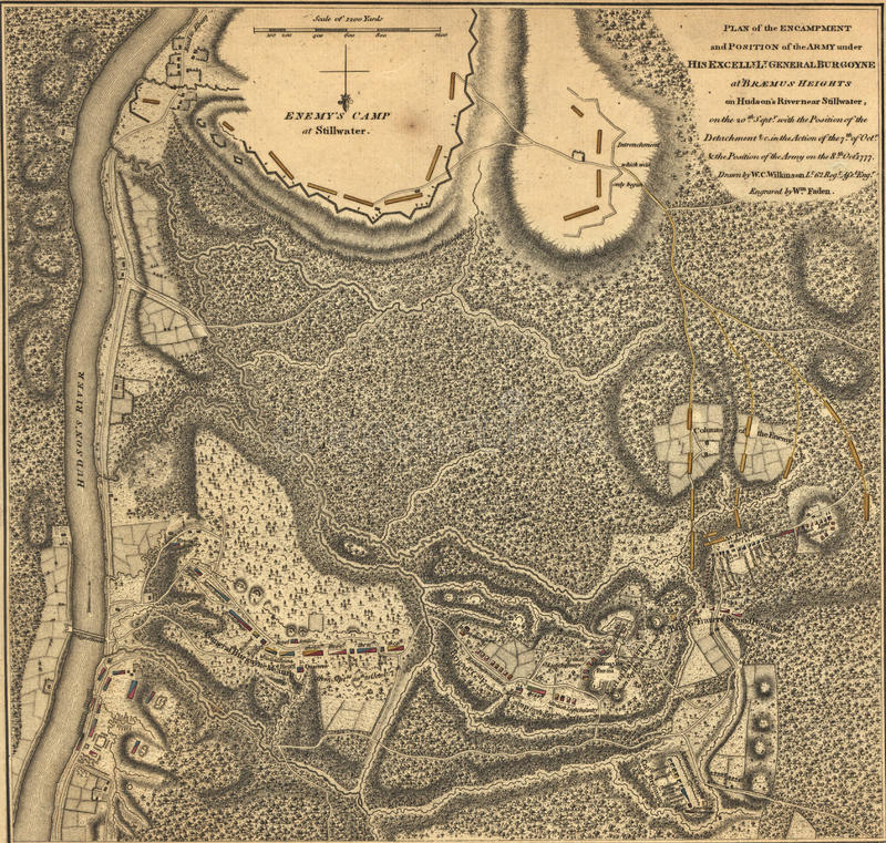 Burgoyne的军队, Bemis Hieghts,萨拉托加地图, 1777 免版税库存图片