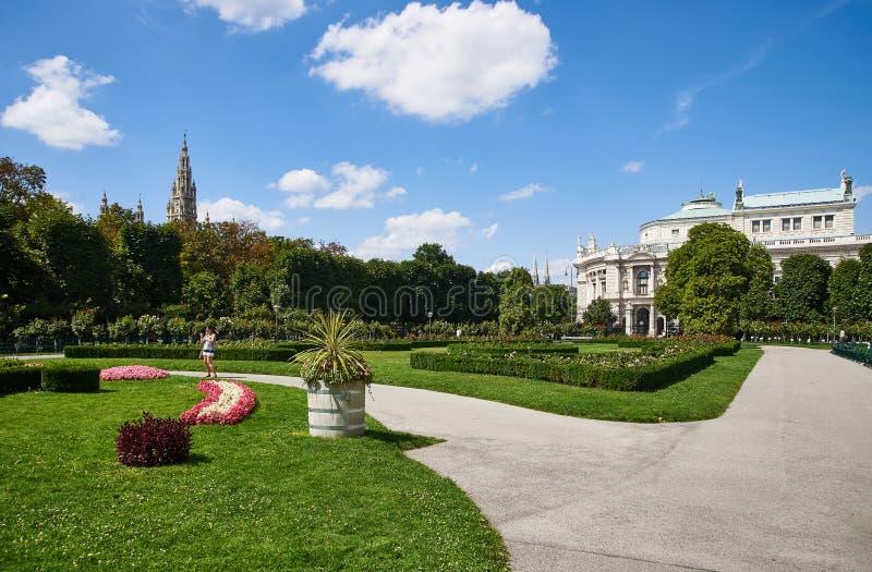 Burgtheater i urząd miasta od Volksgarten fotografia royalty free