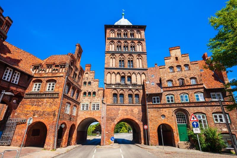 Burgtor-Tor in Lübeck, Deutschland stockbild