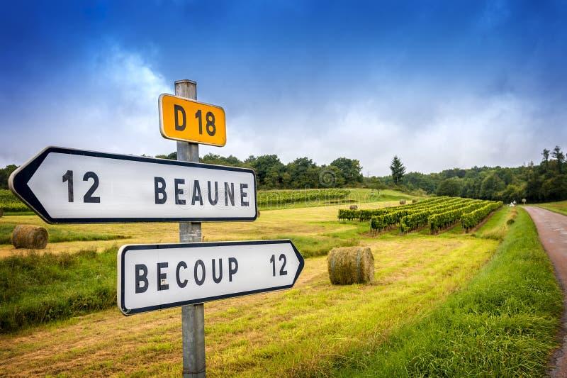 burgunder Land-Verkehrsschilder des Weins französische, die zu die Spitzen-Burgunder-Weinberge führen franc stockbild