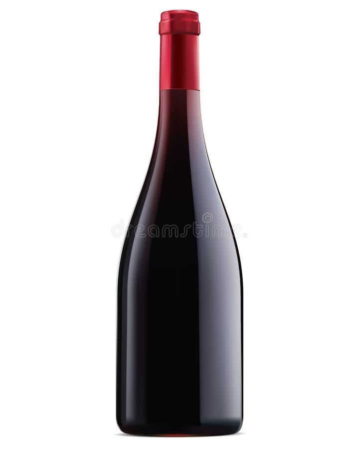 Burgundy μπουκάλι κόκκινου κρασιού. Διανυσματική απεικόνιση διανυσματική απεικόνιση