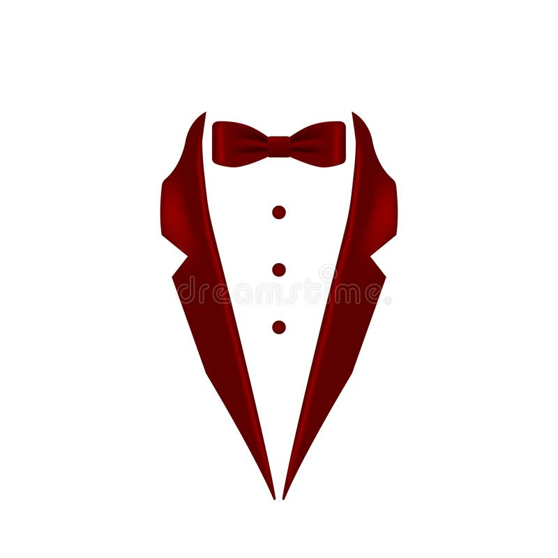 Burgundy colored bow tie tuxedo collar icon. Element of evening menswear illustration. Premium quality graphic design icon. Signs. And symbols collection icon stock illustration