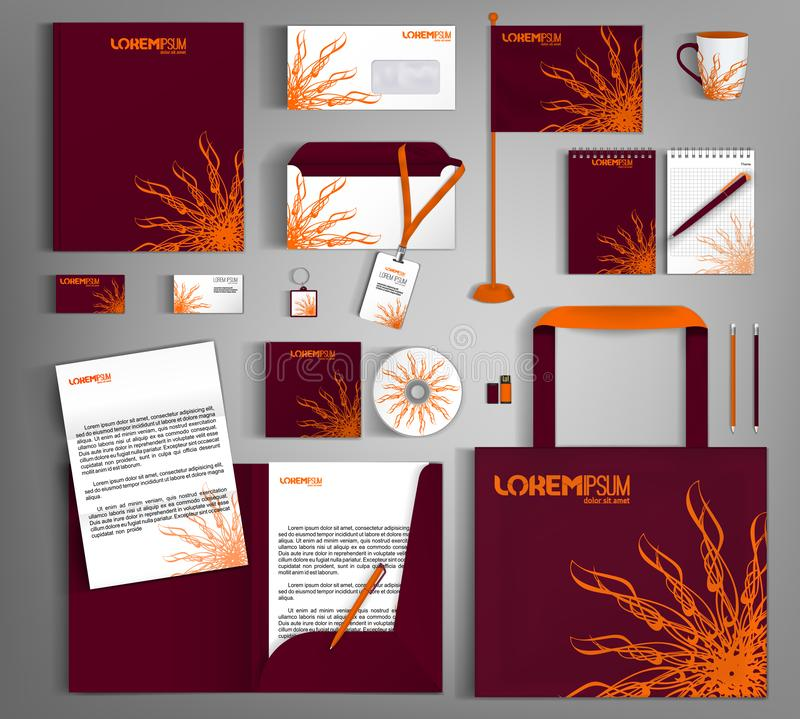 Burgundy corporate identity template design with an element of decorative orange flower. Modern abstract business set stationery stock illustration