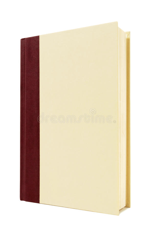 Burgundy and cream hardback book, front cover, standing upright, vertical, copy space. Cream and maroon hardback book standing upright isolated on a white royalty free stock photo
