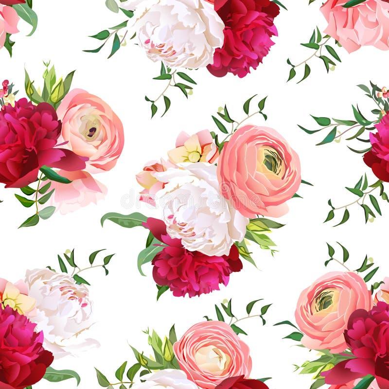 Burgundy czerwone i białe peonie, ranunculus, róża wektoru bezszwowy wzór ilustracji