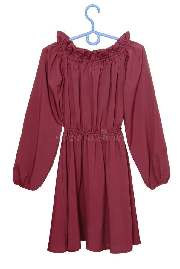 Burgundy dress, claret blouse isolated on white, long-sleeve go stock photos