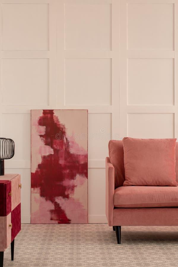 Burgundy i pastelowych menchii abstrakcjonistyczny obraz obraz royalty free