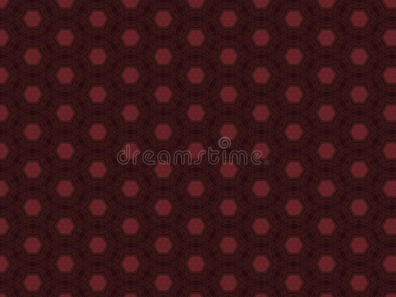 Burgundy leather material with a red hexagon star and a diamond shape royalty free stock image