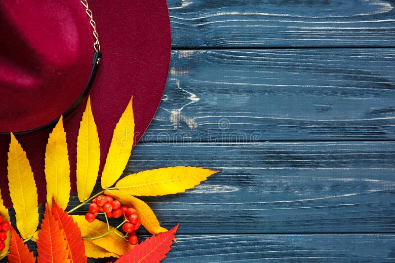 Burgundy  or marsala color hat on a gray wooden background with autumn yellow, red leaves and berries. Flat lay, copyspace royalty free stock images
